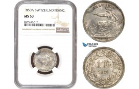 AC326-R, Switzerland, 1 Franc 1850-A, Paris, Silver, NGC MS63