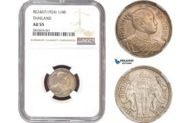 AC331-R, Thailand, Rama VI, 1/4 Baht BE2467 (1924) Silver, NGC AU55