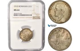 AC422, Romania, Carol I, 1 Leu 1910, Brussels, Silver, NGC MS64