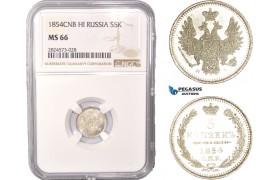 AC424, Russia, Nicholas I, 5 Kopeks 1854 СПБ-HI, St. Petersburg, Silver, NGC MS66