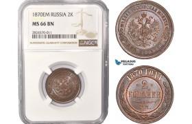 AC428, Russia, Alexander II, 2 Kopeks 1870 EM, Ekaterinburg, NGC MS66BN, Pop 2/0