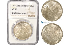 AC430, Russia, Alexander II, Rouble СПБ-HI, St. Petersburg, Silver, NGC MS62
