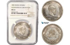 AC433, Russia, Alexander III, Rouble 1883 (Coronation) Silver, NGC MS61