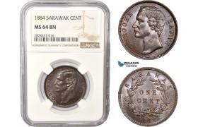 AC437, Sarawak, C. Brooke Rajah, 1 Cent 1884, NGC MS64BN, Pop 2/0