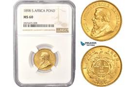 AC441, South Africa (ZAR) 1 Pond 1898, Pretoria, Gold, NGC MS60