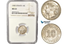 AC442, Straits Settlements, Victoria, 10 Cents 1900, Silver, NGC MS63