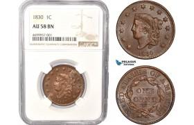 AC447, United States, Coronet Head Cent 1830, Philadelphia, NGC AU58BN