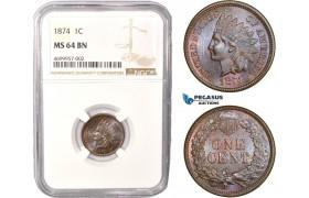 AC448, United States, Indian Head Cent 1874, Philadelphia, NGC MS64BN