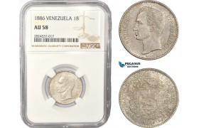 AC449, Venezuela, 1 Bolivar 1886, Caracas, Silver, NGC AU58, Pop 1/0, Rare!