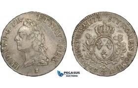 AC619, France, Louis XV, Ecu 1772-T, Nantes, Silver (29.35g) Cleaned VF+, Rare!