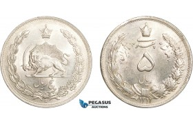 AC626, Iran, Reza Shah, 5 Rials SH1311(1932) Silver, Lightly cleaned UNC