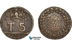 AC627, Italy, Naples, Ferdinando IV, 5 Tornesi 1798-P, VF-XF
