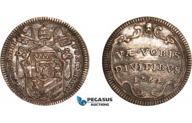 AC629, Italy, Papal, Clemens XIII, 1/2 Grosso 1761-IV, Silver, Toned AU