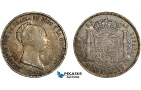 AC635, Spain, Isabella II, 20 Reales 1855, Madrid, Silver, Toned XF (Few edge nicks)