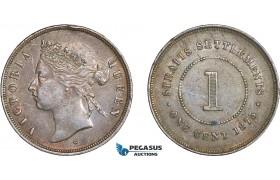 AC637, Straits Settlements, Victoria, 1 Cent 1875-W, Edge bumb, AU
