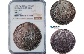 AC638, Germany, Silesia-Liegnitz-Brieg. Georg III, Ludwig IV, and Christian,  Taler 1658 EW, Brieg, Silver, NGC AU55, Rare!