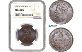 AC725, Italy, Vitt. Emanuele II, 10 Centesimi 1867-OM, Strasbourg, NGC MS63BN