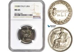 AC726, Italy, Vitt. Emanuele III, 1 Lira 1928-R, Rome, NGC MS65