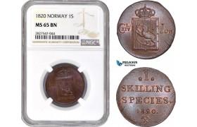 AC732, Norway, Carl XIV Johan, 1 Skilling 1820, Kongsberg, NGC MS65BN, Pop 1/0