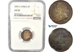 AC747, South Africa (ZAR) Sixpence (6P) 1895, Pretoria, Silver, NGC AU53