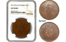 AC754, Ottoman Empire (Turkey) Abdülmecid, 40 Para AH1255/20, NGC AU58