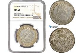 AC867, France, Louis XIV, 1/2 Ecu 1694-M, Toulouse, Silver, NGC MS62, Pop 1/0