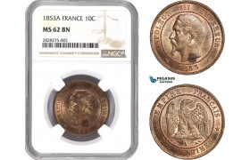 AC869, France, Napoleon III, 10 Centimes 1853-A, Paris, NGC MS62BN