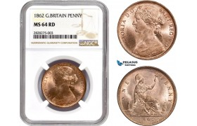 AC871, Great Britain, Victoria, 1 Penny 1862, NGC MS64RD