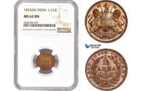 AC876, India (EIC) 1/12 Anna 1835 (M) Madras, NGC MS62BN