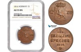 AC879, Norway, Karl XIII, 1 Skilling 1816, Kongsberg, NGC AU55