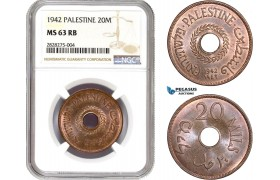 AC880, Palestine, 20 Mils 1942, London, NGC MS63RB