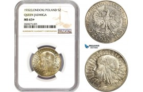 "AC881, Poland, 5 Zlotych 1932 (London) ""Queen Jadwiga"" Silver, NGC MS63+"