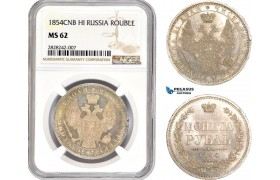 AC882, Russia, Nicholas I, Rouble 1854 СПБ-НІ, St. Petersburg, Silver, NGC MS62