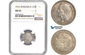 AC887, Venezuela, 1/2 Bolivar 1912, Paris, Silver, NGC AU53