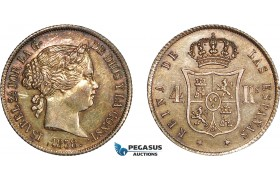 AD078, Spain, Isabella II, 4 Reales 1858, Silver, Old cleaning, re-toned, AU