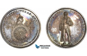 AD097, Germany, Silver Medal 1840 (Ø37mm, 15.8g) by Neuss, 400 Years of Printing, Gutenberg , Sphinx, PROOF, Rare!