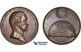 AD103, Sweden, Bronze Medal 1841 (Ø43mm, 37g) by Lundgren, Gustav af Klint, Admiral & Cartographer