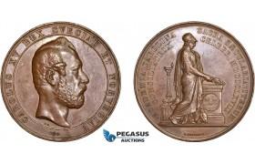 AD105, Sweden, Karl XV, Bronze Medal 1868 (Ø58mm, 71.5g) by Ericsson, Lund University, Owl, Minerva