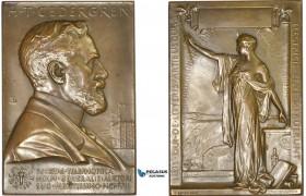 AD110, Sweden, Art Nouveau Bronze Plaque Medal 1908 (52x76mm, 133g) by Lindberg, Electricity, Cedergren