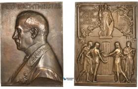 AD113, Sweden, Bronze Plaque Medal 1916 (49x65mm, 89g) by Lindberg, Uppsala University, Athena