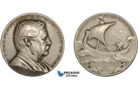 AD114, Sweden & Finland, Silver Medal 1925 (Ø31.5mm, 15.2g) by Lindberg, Nordenskiold, Viking Ship, Science Academy