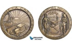 AD115, Sweden & United States, Bronze Medal 1928 (Ø70mm, 120g) General Motors, Car, Viking Ship