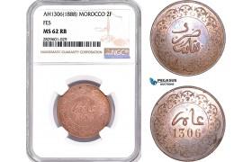 AD218, Morocco, Moulay al-Hasan I, 2 Falus AH1306 (1888) Fes, NGC MS62RB, Pop 2/0, Rare!