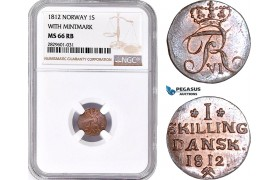 AD220, Norway, Frederik VI, 1 Skilling 1812, Kongsberg, With Mintmark, NGC MS66RB, Pop 3/0