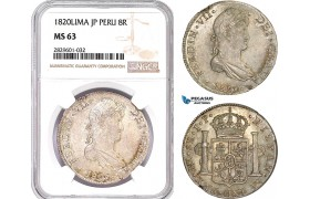 AD221, Peru, Ferdinand VII, 8 Reales 1820 LIMA JP, Silver, NGC MS63