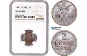 AD223, Poland, Danzig, 2 Pfennige 1926, NGC MS64BN