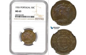 AD224, Portugal, 50 Centavos 1926, NGC MS63