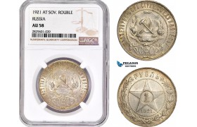 AD233, Russia (USSR) Rouble 1921 (AT) Leningrad, Silver, NGC AU58