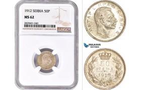 AD234, Serbia, Petar I, 50 Para 1912, Silver, NGC MS62, Pop 1/1
