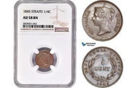 AD235, Straits Settlements, Victoria, 1/4 Cent 1845, NGC AU58BN